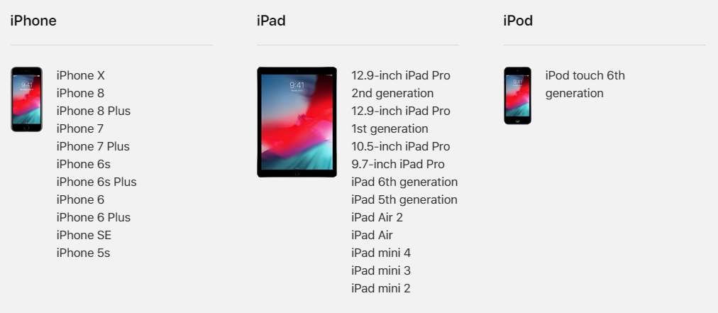 iOS 12 対象デバイス