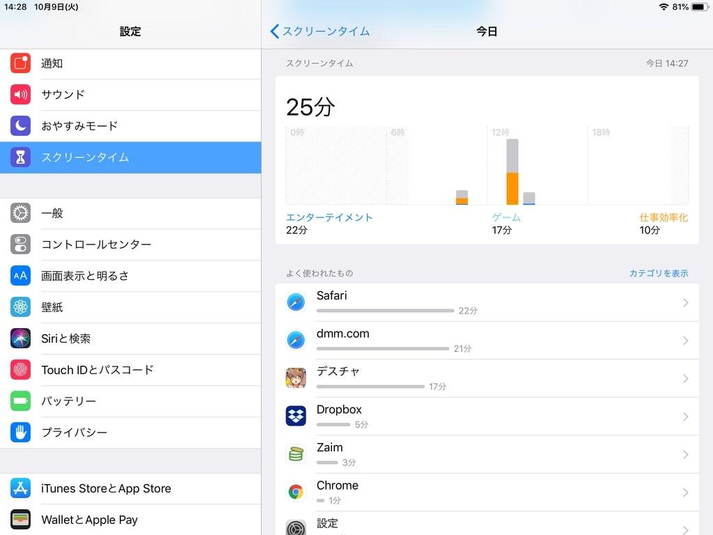 iOS12 スクリーンタイプ