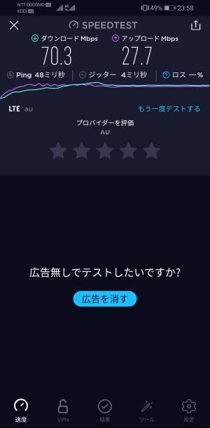 LINEモバイル 速度(夜)