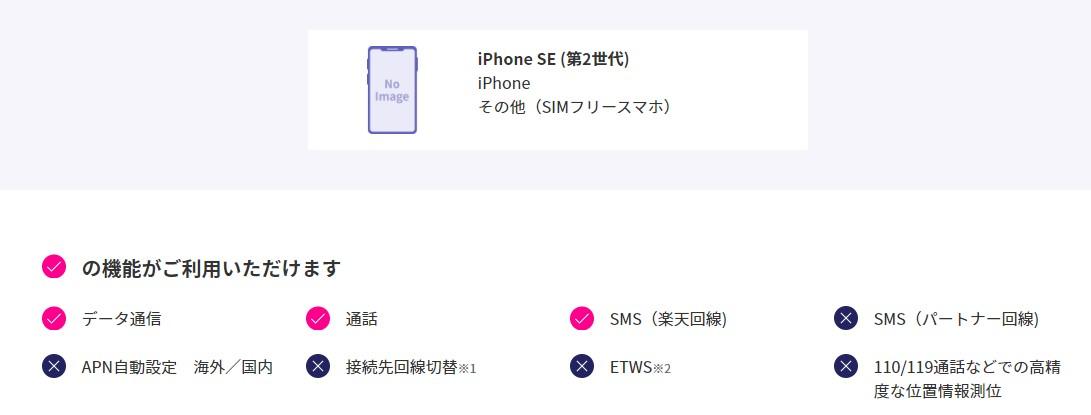 楽天モバイル iPhone SE 対応状況